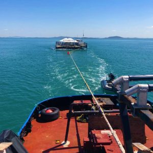 Towage Services with Tim North Marine ǀ Pontoon Tow on the Great Barrier Reef ǀ Tugboat Charter