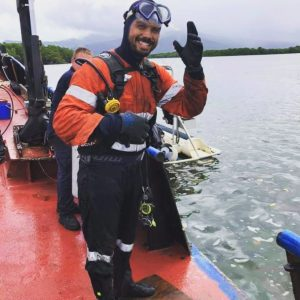 Find Commercial Diving Jobs in Queensland Australia. Commercial diver entering the water in Cairns QLD