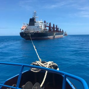 Tug Boat Assist Performing Towage to a Bulk Carrier from Torres Strait to Cairns Queensland